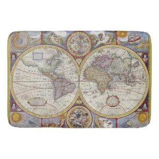 Tapis De Bain Carte de beau Vieux Monde d'antiquité et de cru