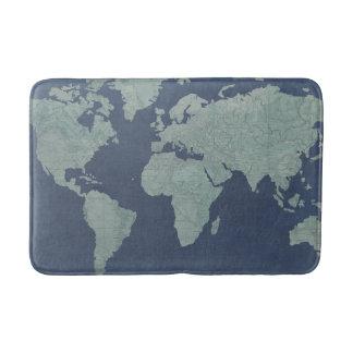 Tapis De Bain Carte de toile bleue du monde