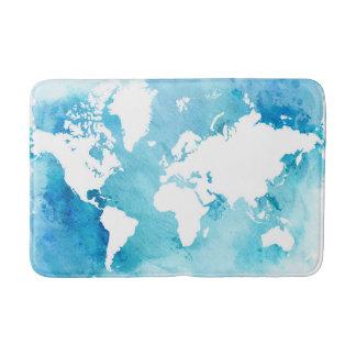 Tapis De Bain Carte du monde dans des bleus d'aquarelle