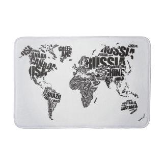 Tapis De Bain Carte du monde dans la typographie