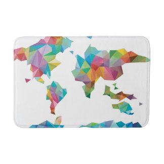 Tapis De Bain Carte du monde faite de formes géométriques