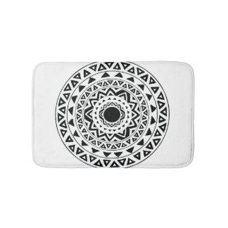 Tapis De Bain Cercles tribaux, mandala en noir et blanc