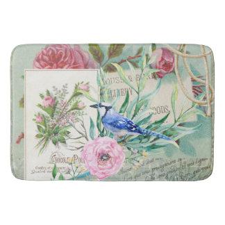 Tapis De Bain Collage floral de geai bleu d'oiseau de rose