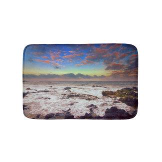 Tapis De Bain Coucher du soleil de plage d'île rocheuse