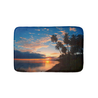 Tapis De Bain Coucher du soleil tropical d'île hawaïenne