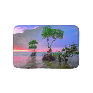 Tapis De Bain Coucher du soleil tropical rose sur la plage