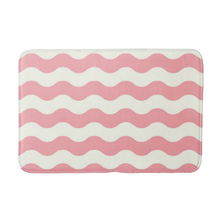 Tapis de bain de luxe : rose, blanc