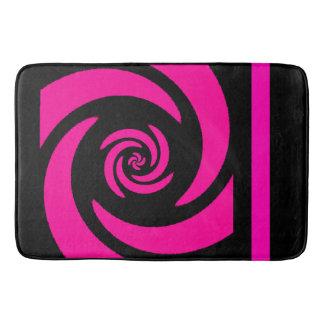 Tapis de bain en spirale noir et rose de