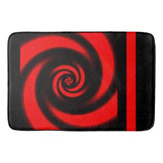 Tapis de bain en spirale noir et rouge de
