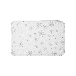 Tapis De Bain Flocon de neige de scintillement - gris et Blanc