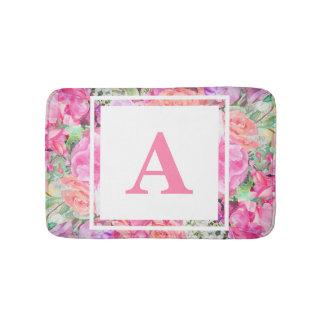 Tapis de bain floral de monogramme d'aquarelle