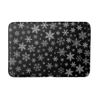 Tapis De Bain Gris noir et argenté du flocon de neige moderne 2