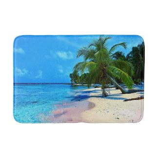 Tapis De Bain Île tropicale avec les palmiers et la plage