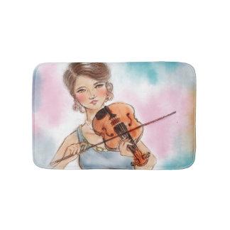 Tapis de bain illustré coloré - violon