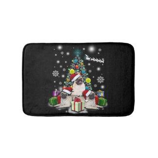 Tapis De Bain Joyeux Noël avec l'animal de chien de carlin