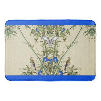 Tapis De Bain Le bleu en bambou asiatique d'oiseaux fleurit le