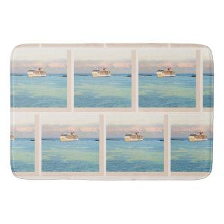 Tapis De Bain Lever de soleil et motif en pastel de bateau de