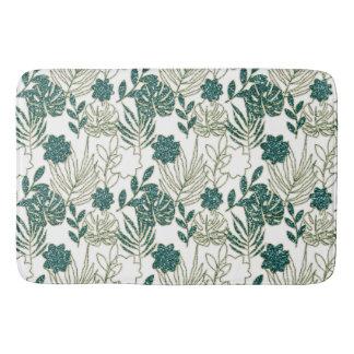 Tapis De Bain Menthe blanche botanique tropicale turquoise de