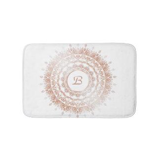 Tapis De Bain Monogramme blanc de mandala de damassé d'or rose