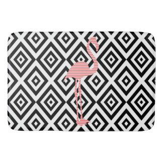 Tapis De Bain Motif géométrique abstrait - noir - flamant rose