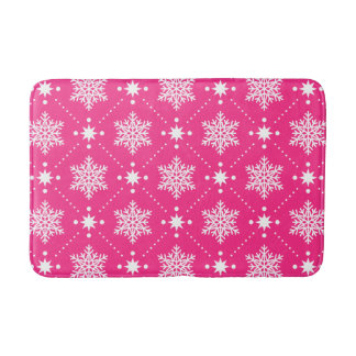 Tapis De Bain Motif rose et blanc Girly de Noël de flocons de