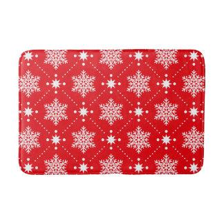 Tapis De Bain Motif rouge et blanc classique de Noël de flocons