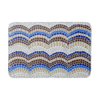 Tapis de bain moyen de mosaïque bleue