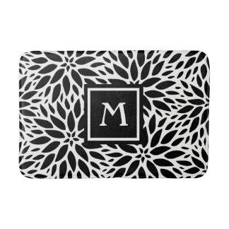 Tapis de bain noir de monogramme et blanc moderne