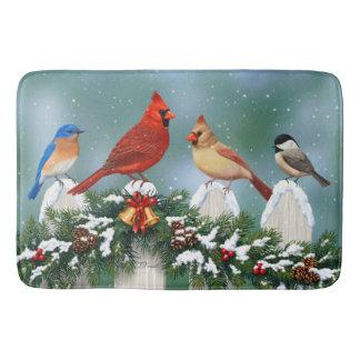 Tapis De Bain Oiseaux de vacances et guirlande de Noël