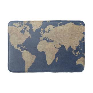 Tapis De Bain Or et carte bleue du monde