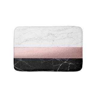Tapis De Bain or rose de marbre blanc noir clair moderne élégant