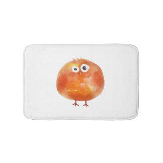 Tapis de bain orange mignon d'oiseau d'aquarelle