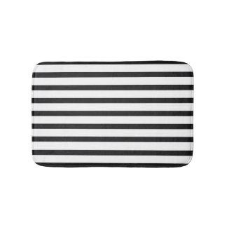 Tapis de bain rayé noir et blanc
