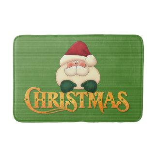 Tapis De Bain Rayures vertes avec Noël et Père Noël d'or