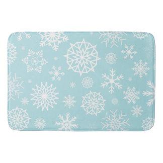 Tapis De Bain Vacances blanches bleues de Noël de flocon de