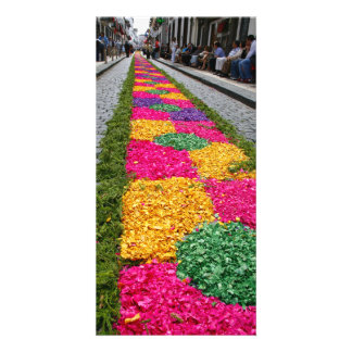 Tapis de fleur cartes de vœux avec photo