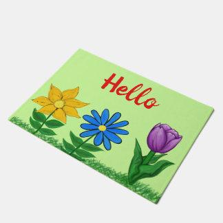 Tapis de porte assez floral de vert de jardin