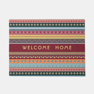 Tapis de porte géométrique coloré tribal de motif