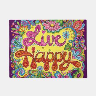 Tapis de porte heureux vivant - natte colorée