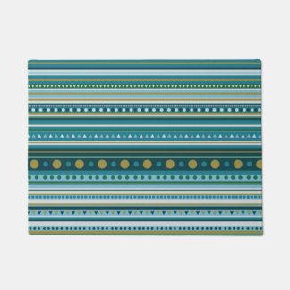 Tapis de porte turquoise tribal de motif de