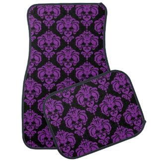 Tapis De Sol Charme à la mode moderne de motif de damassé noire