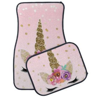 Tapis De Sol Confettis modernes à la mode floraux d'or de