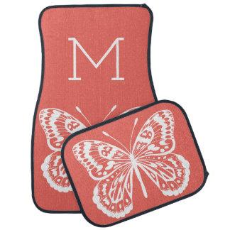 Tapis De Sol Contour de papillon et lettre blancs de monogramme