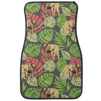 Tapis De Sol Feuille et éléphants exotiques de jungle