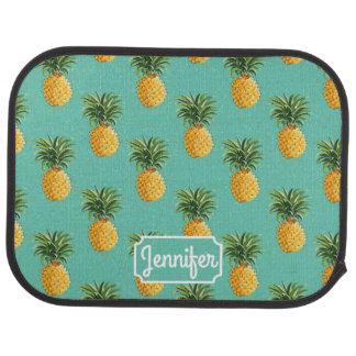 Tapis De Sol Les ananas tropicaux sur Teal | ajoutent votre nom