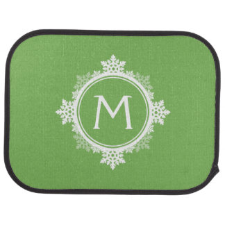 Tapis De Sol Monogramme de guirlande de flocon de neige en vert