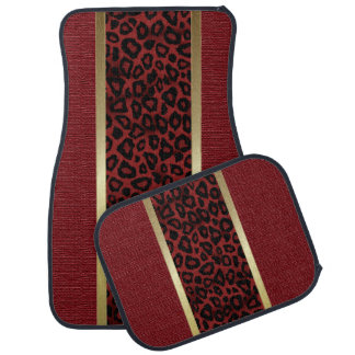 Tapis De Sol Motif animal de léopard rouge foncé