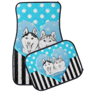 Tapis De Sol Motif bleu de chiens de traîneau