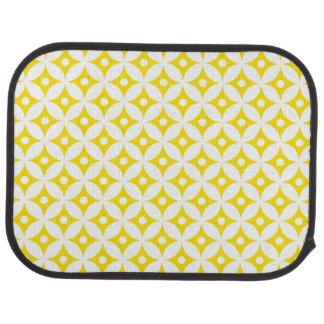 Tapis De Sol Motif de pois jaune et blanc moderne de cercle