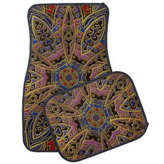 Tapis De Sol Or de mandala de relief sur le cuir de Faux